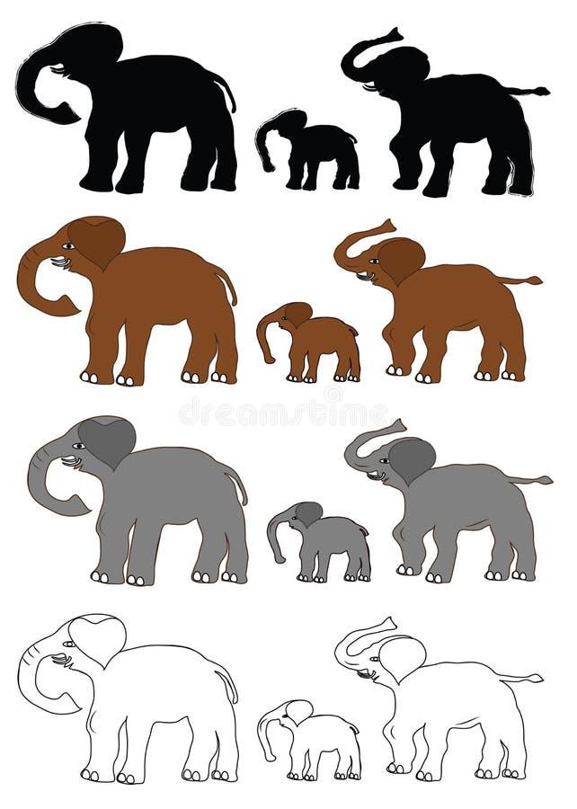 Ställ in med elefanter royaltyfri illustrationer