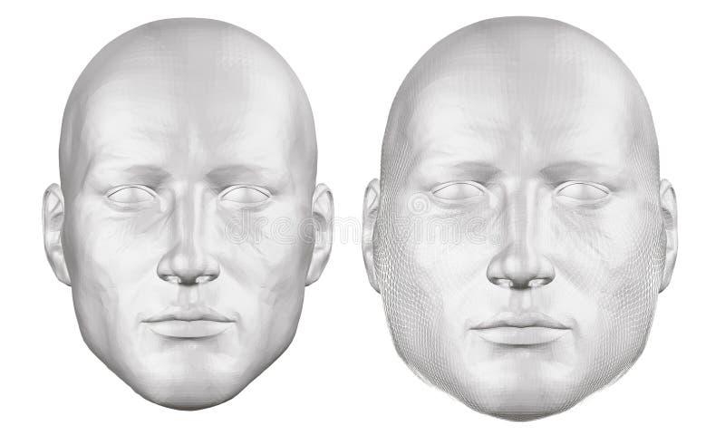 Ställ in med ett polygonal manhuvud Huvudet av en fet och spenslig man Huvudet av en fet man bryter in i fragment, bristningar stock illustrationer