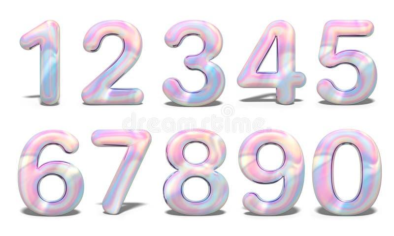 Ställ in med färgrika fastställda nummer 3d holographic på vit bakgrund Geometrisk stilsort Beröm & parti finansiell serie för af royaltyfri illustrationer