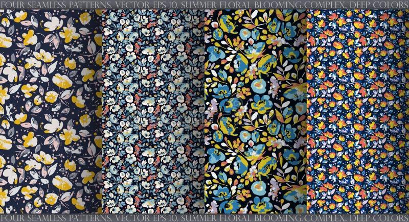 Ställ in med fyra sömlösa modeller för vektor, abstrakta blommor i komplexa djupa färger: mörkt - för marin, beigea och senapsgul stock illustrationer