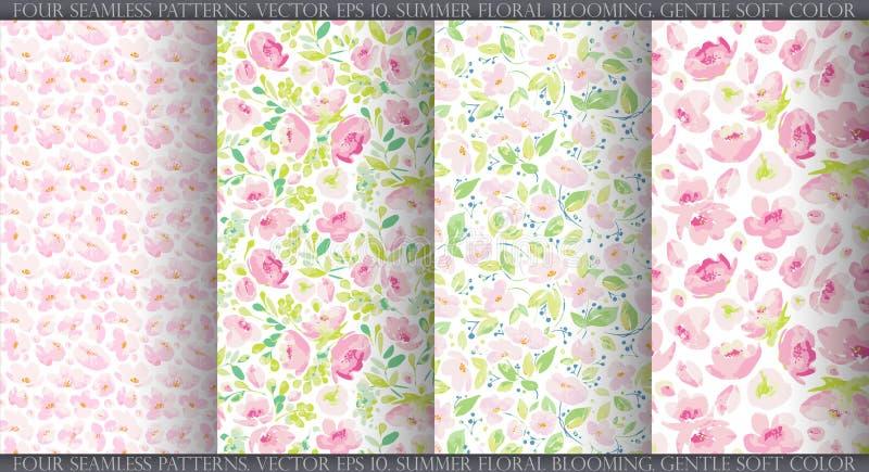 Ställ in med fyra sömlösa modeller för vektor, abstrakta försiktiga rosa blommor på vit bakgrund vektor illustrationer