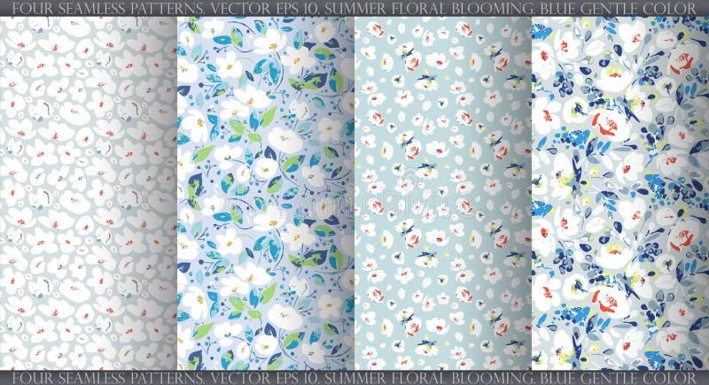 Ställ in med fyra sömlösa modeller för vektor, abstrakta försiktiga vita blommor på dammig blå grå bakgrund stock illustrationer