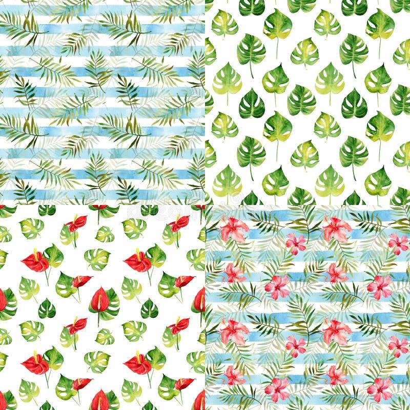 Ställ in med fyra sömlösa modeller med tropiska blommor för vattenfärgen stock illustrationer