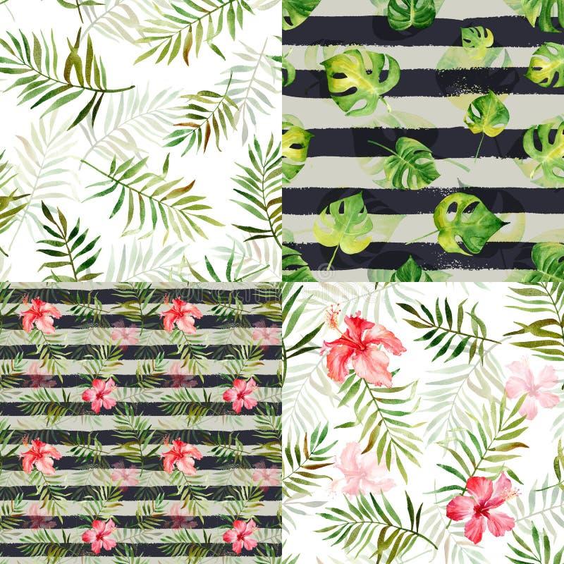Ställ in med fyra sömlösa modeller med tropiska blommor för vattenfärgen royaltyfri illustrationer