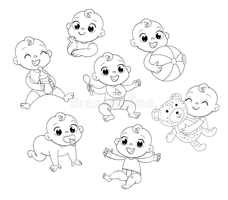 Ställ in med gulligt litet behandla som ett barn i blöja stock illustrationer
