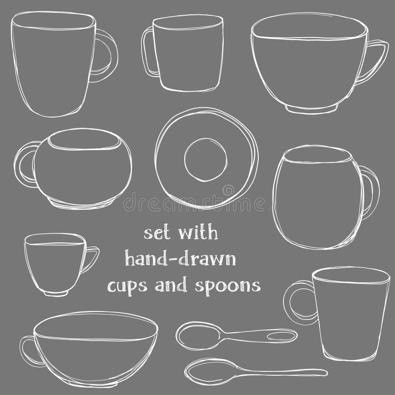 Ställ in med hand-drog tekoppar och skedar Tappningvektorillustration i svart tavlastil royaltyfri illustrationer