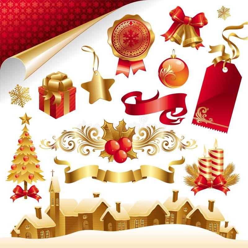 Ställ in med julsymboler & objekt stock illustrationer