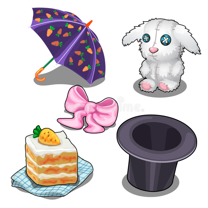 Ställ in med kaninen, morotkakan, hatten och andra objekt stock illustrationer