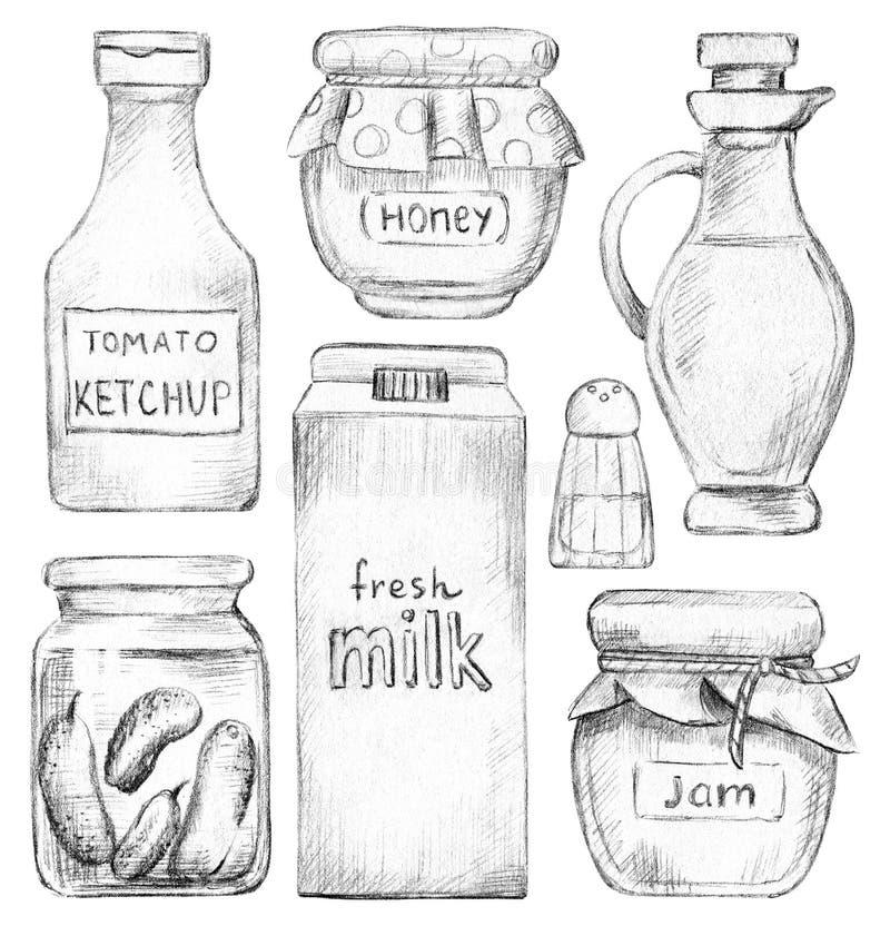 Ställ in med ketchup, honung, driftstopp, mjölka, salta, inlagda gurkor och olja vektor illustrationer