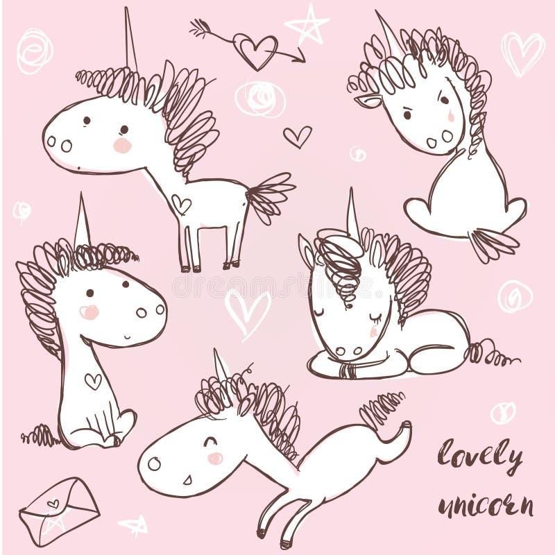 Ställ in med klotterenhörningar stock illustrationer
