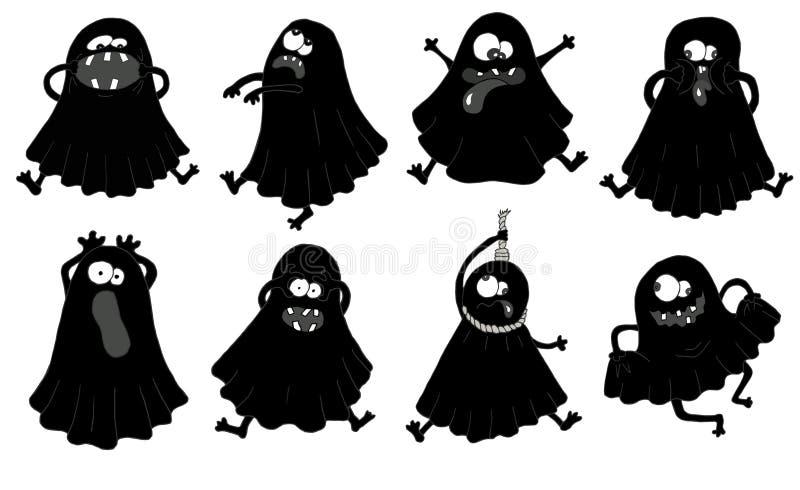 Ställ in med konturer av roliga spökar royaltyfri illustrationer