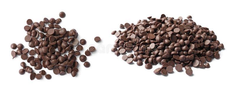 Ställ in med läckra chokladchiper royaltyfri foto