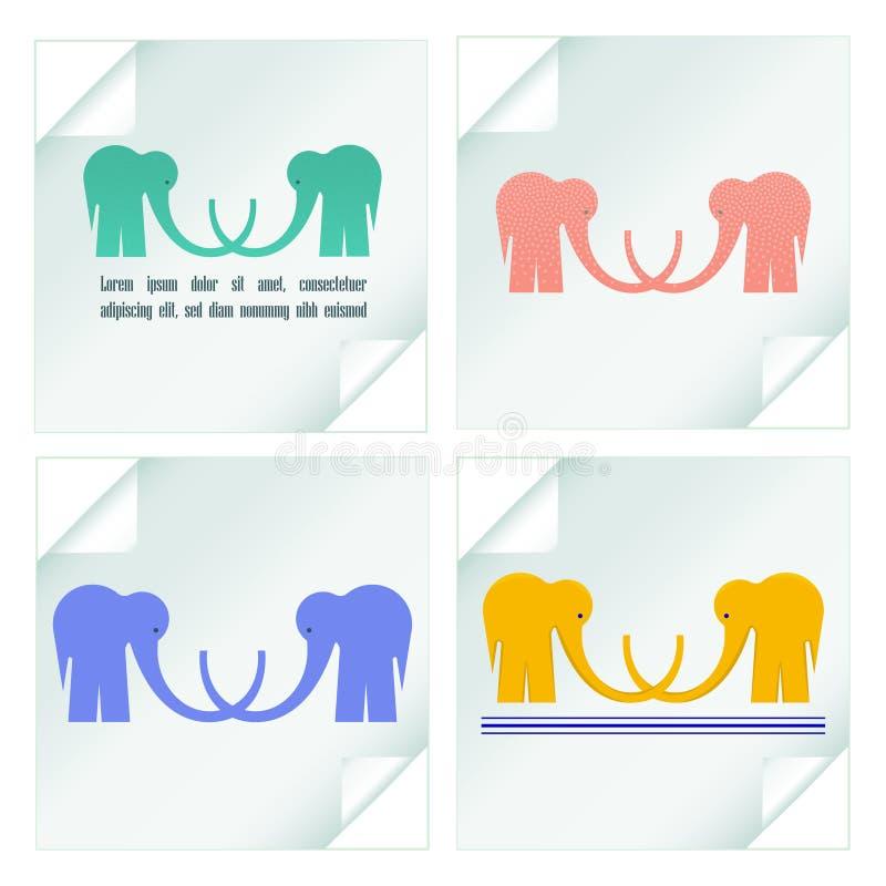 Ställ in med logotyper av elefanterna på klistermärkear stock illustrationer