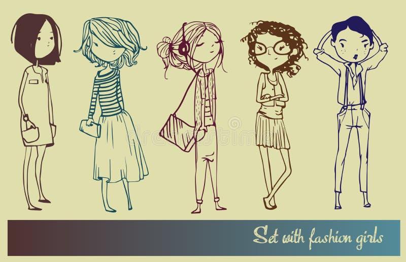 Ställ in med modeflickor royaltyfri illustrationer