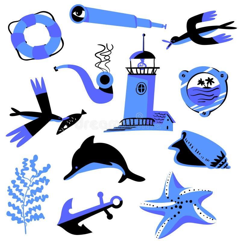 Ställ in med nautiska objekt Marin- samling ocks? vektor f?r coreldrawillustration vektor illustrationer