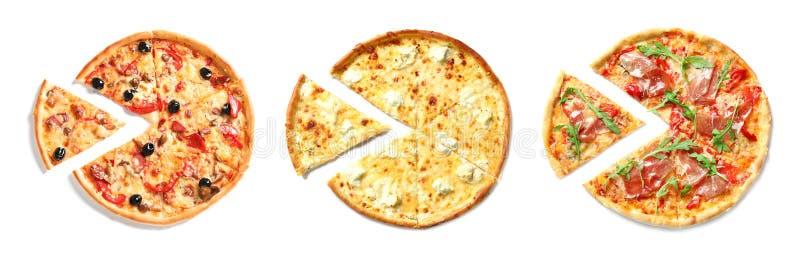 Ställ in med olika läckra pizza royaltyfria foton