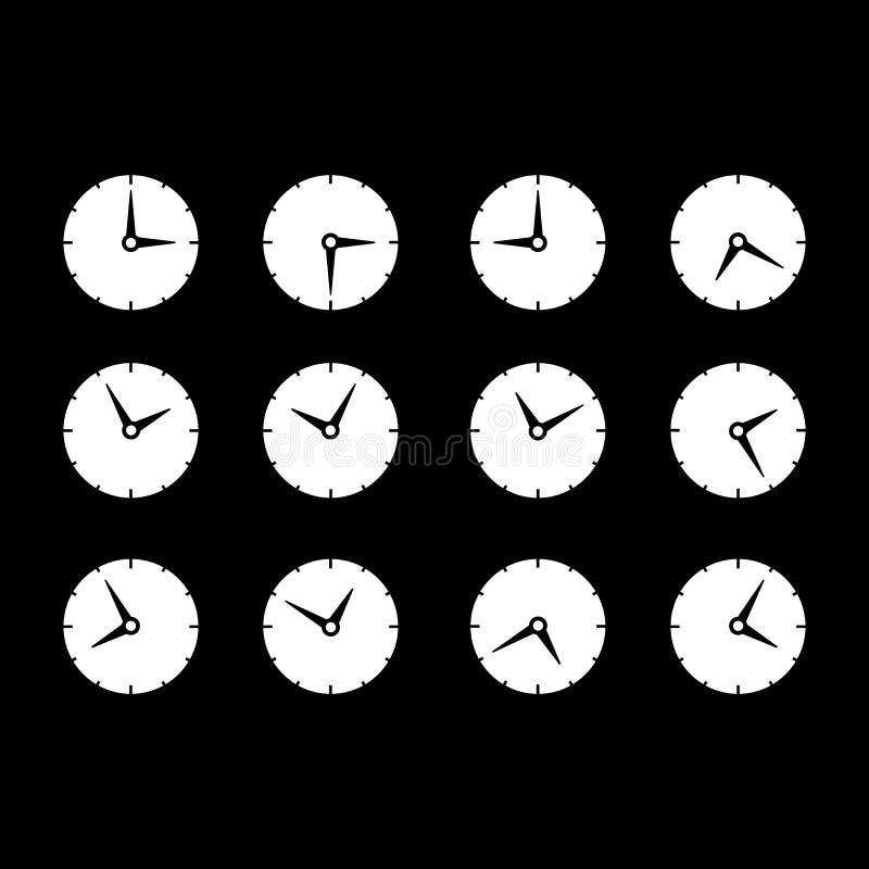 Ställ in med olika symboler för tidogklockan stock illustrationer