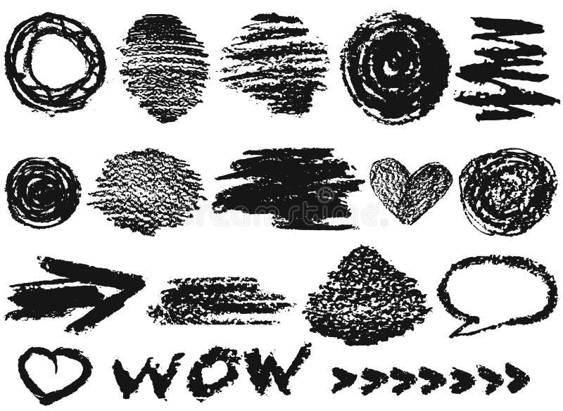 Ställ in med olika symboler, objekt som målas med kolkrita Hand dragen illustration, vektorbeståndsdelar stock illustrationer