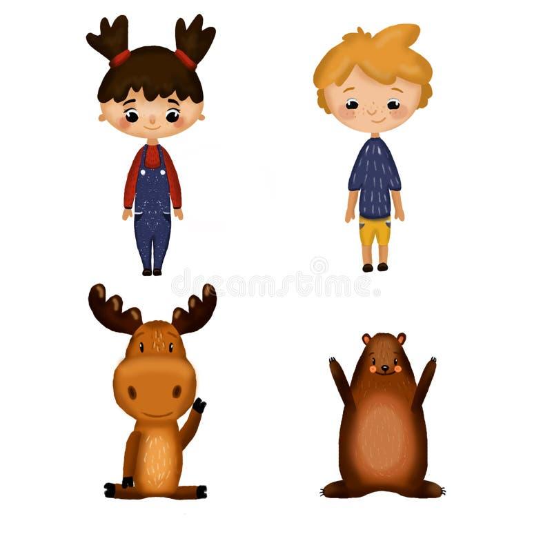 Ställ in med pojken, flickan och djur stock illustrationer