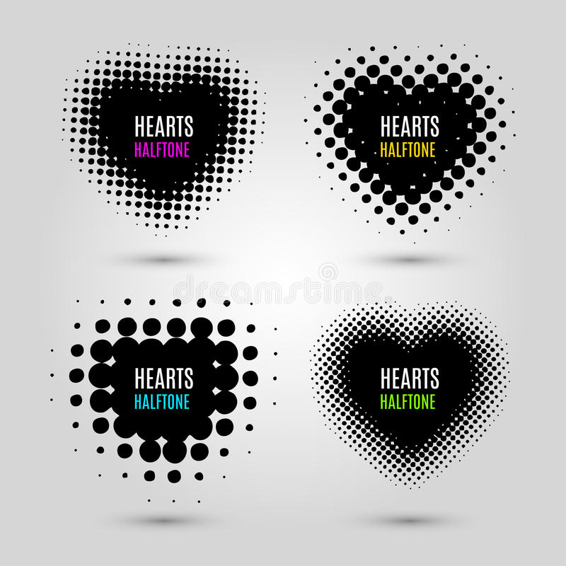 Ställ in med rastrerade hjärtor royaltyfri illustrationer