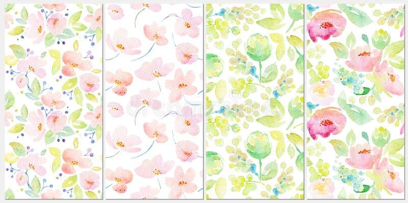 Ställ in med sömlösa modeller för vattenfärgen royaltyfri illustrationer