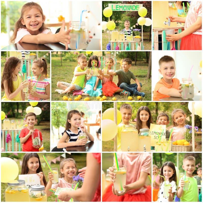 Ställ in med små barn som säljer smaklig lemonad arkivbilder