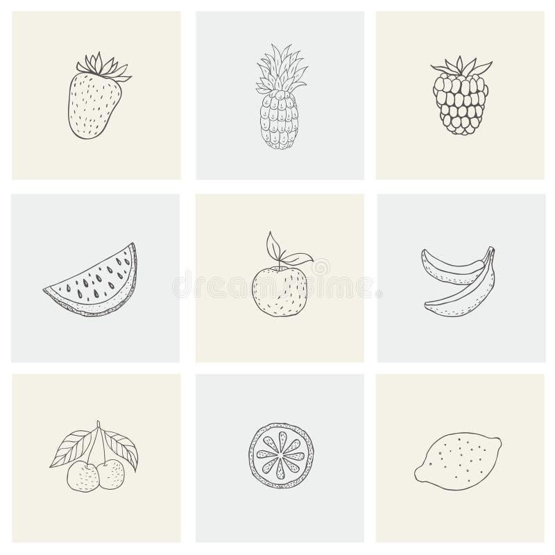 Ställ in med sund mat, frukt, bär för tryck vektor illustrationer