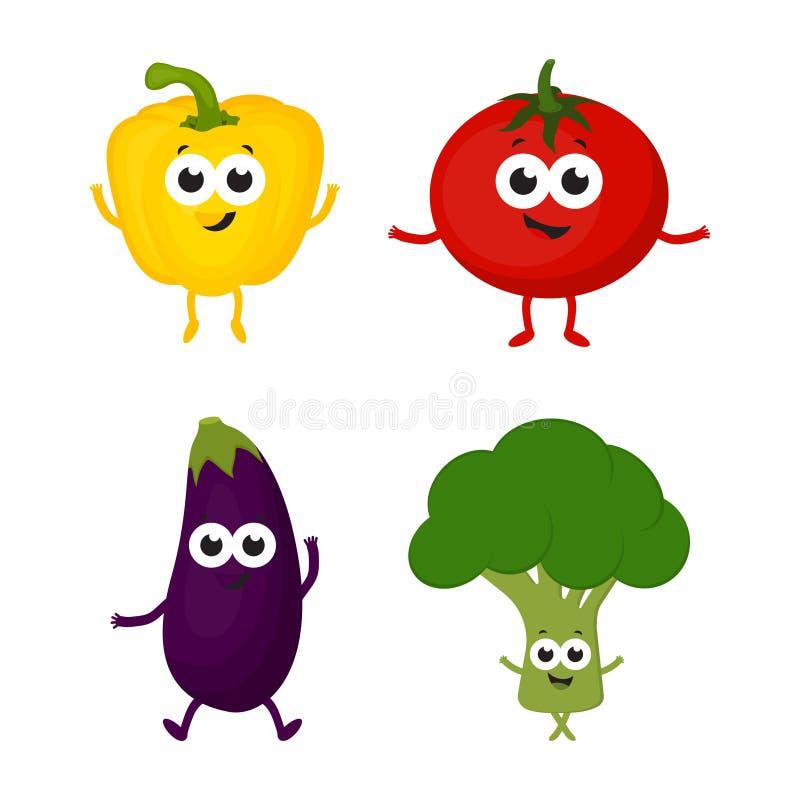 Ställ in med tecknad filmgrönsaker stock illustrationer