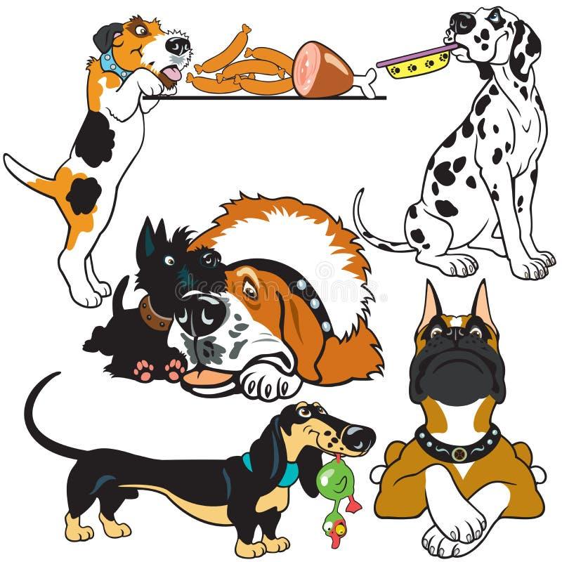 Ställ in med tecknad filmhundkapplöpning royaltyfri illustrationer
