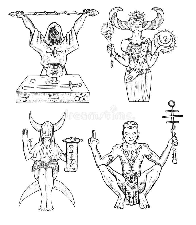 Ställ in med trollkarlar vektor illustrationer