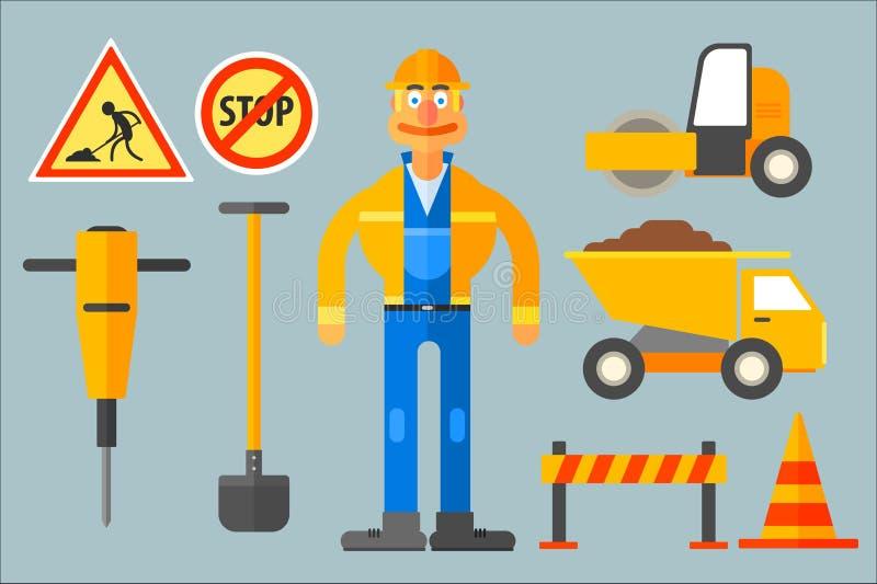 Ställ in med vägarbetaren och olik utrustning Man i den arbetande likformign, skyffel, kotte, dumper, vägrulle, tryckluftsborr stock illustrationer