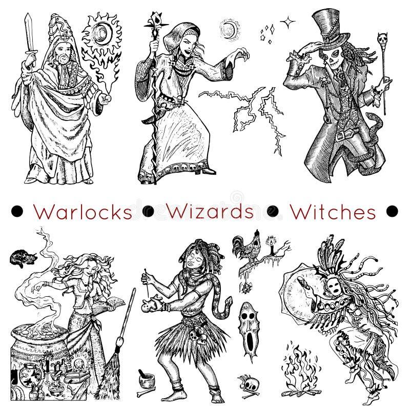 Ställ in med warlocks och trollkarlar vektor illustrationer