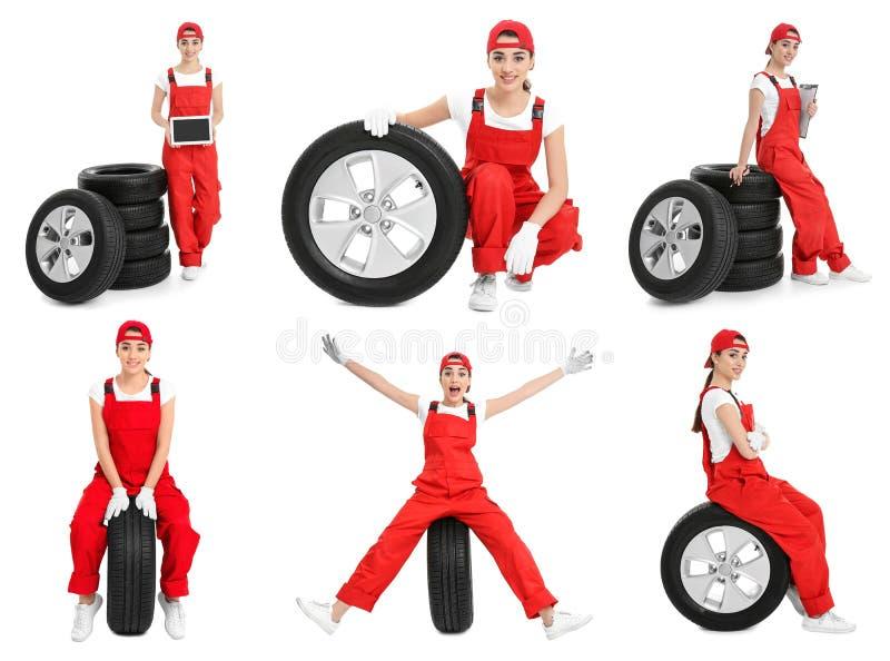 Ställ in med yrkesmässiga mekaniker- och bilgummihjul arkivfoton