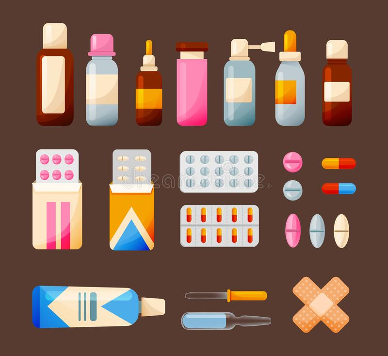 Ställ in medicinska beståndsdelar och mediciner: minnestavlor sirap, droppar, salvor, utrustning stock illustrationer