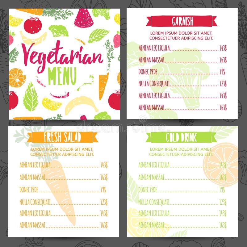 Ställ in menyn för vegetarian för fyrkanten för samlingsdesignmallen Meny för företags identitet för kafé eller restaurang Brosch vektor illustrationer