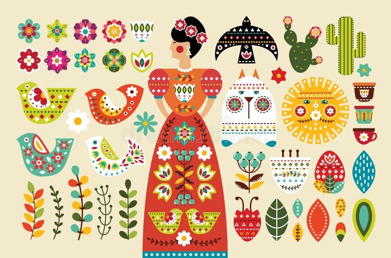 Ställ in mexicanska folk beståndsdelar i plan design vektor illustrationer