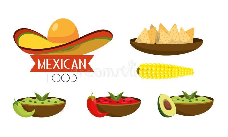 Ställ in mexikansk mat med kryddiga såser stock illustrationer