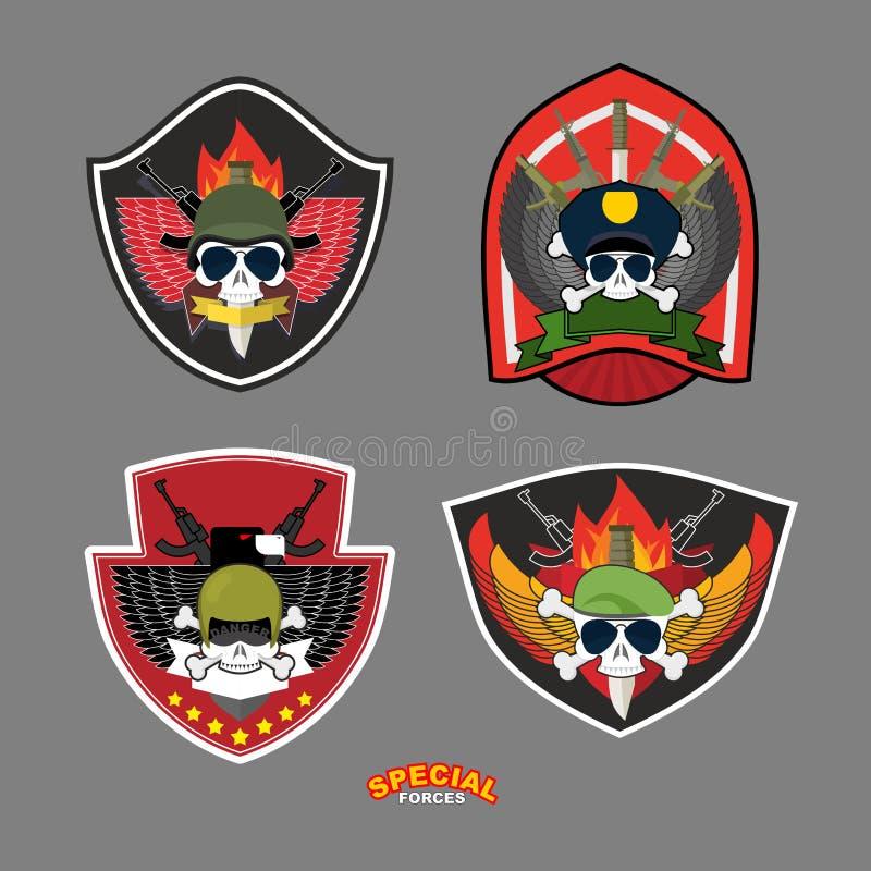 Ställ in militären och beväpnade etikettlogo också vektor för coreldrawillustration Skalle, royaltyfri illustrationer