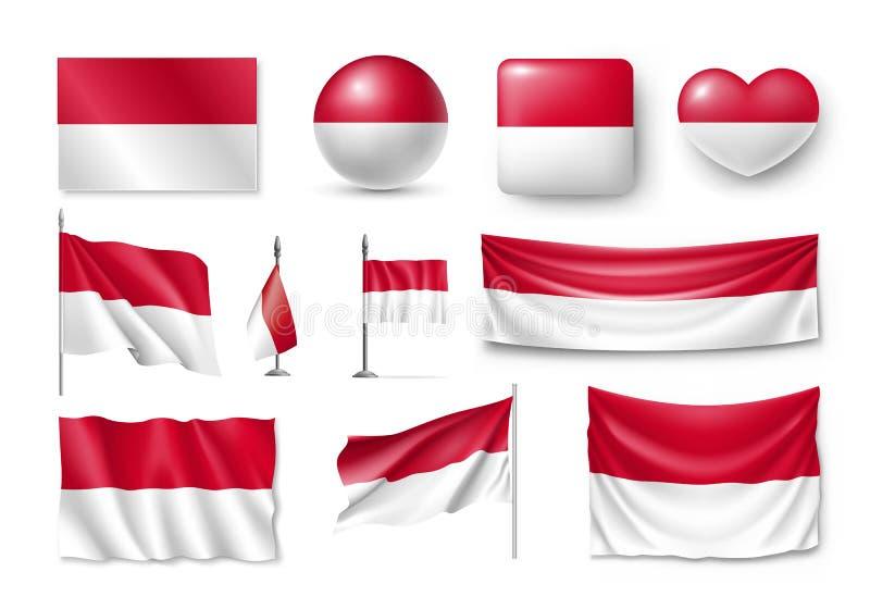 Ställ in Monaco flaggor, baner, baner, symboler, plan symbol vektor illustrationer