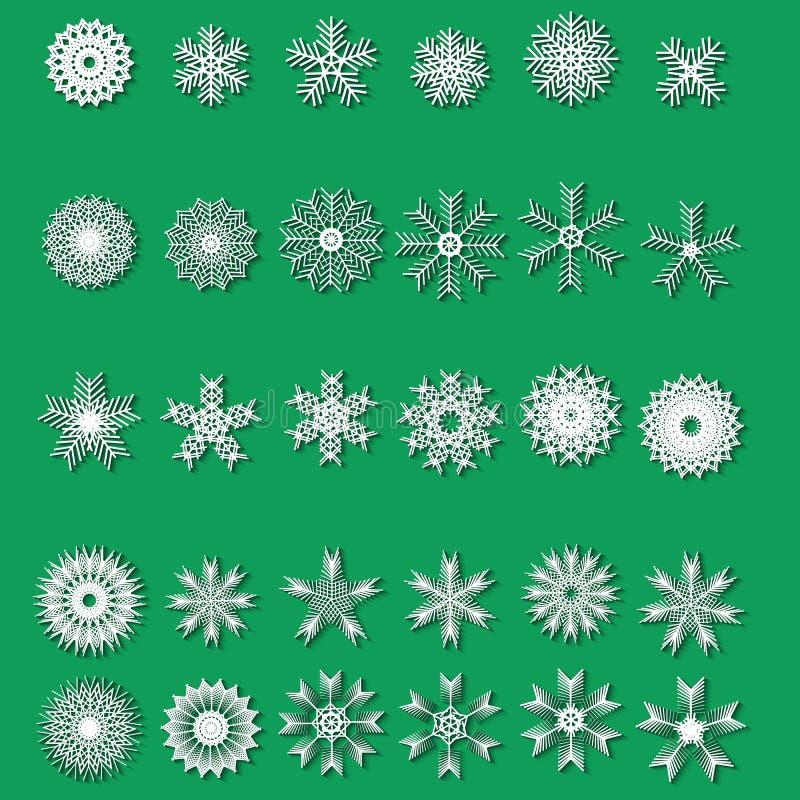 Ställ in olika snöflingor för vit av handgjort med lång skugga stock illustrationer