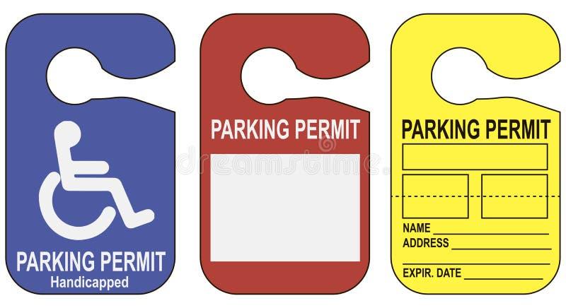 Ställ in parkeringstillstånd stock illustrationer