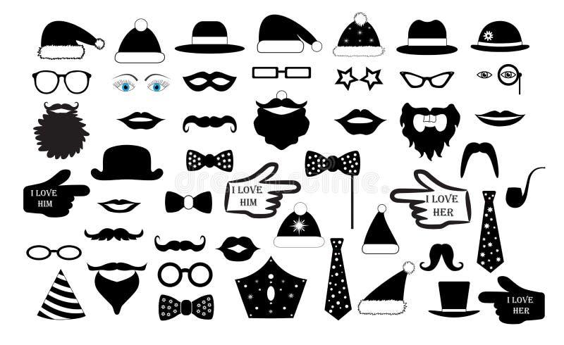 Ställ in partiet framsidan för person` s fejkar Mustascher för exponeringsglashattkanter binder illustrationen för monokelsymbols stock illustrationer