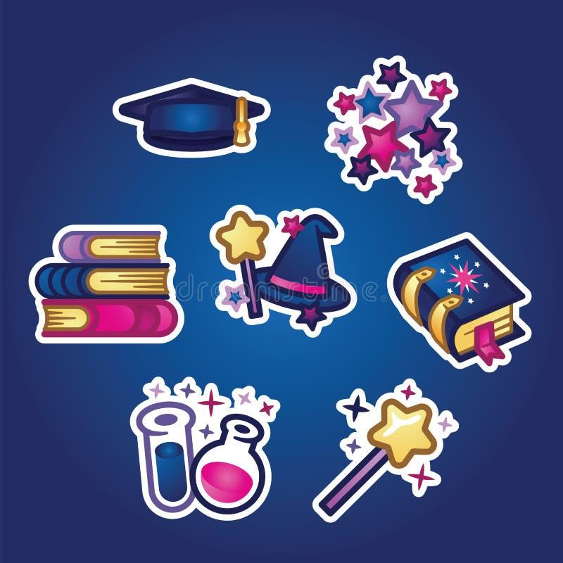 Ställ in plana klistermärkear Böcker och läroböcker, akademiker- och trollkarllock, trollspö och pass Studie utbildning som lär stock illustrationer