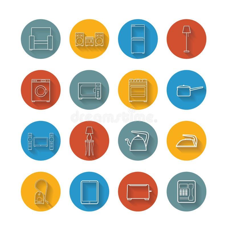 Ställ in plana symboler av husanordningen royaltyfri illustrationer