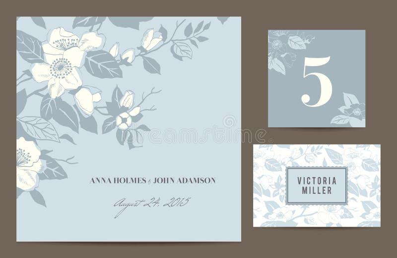 Ställ in polygraphyen för att fira bröllopet. royaltyfri illustrationer