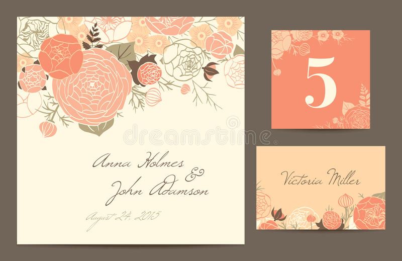 Ställ in polygraphyen för att fira bröllopet. vektor illustrationer