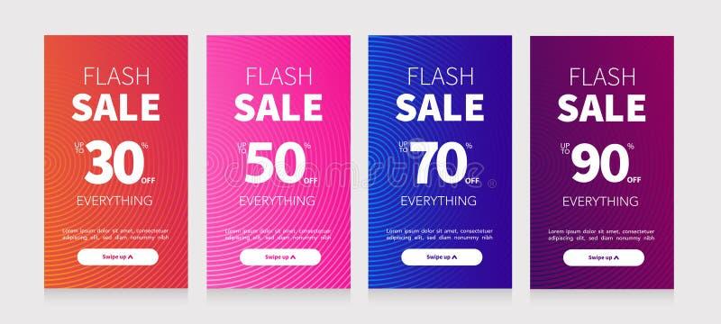 Ställ in promoen i plan stil Vektorbefordranetiketter Ställ in av socialt massmedia för försäljningen för mobil design Specialt e stock illustrationer