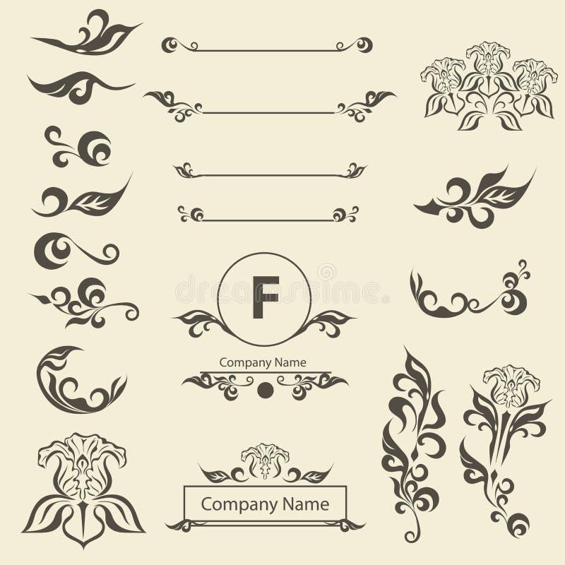 Ställ in prydnaden för arabesquen för tappninggarneringbeståndsdelar stock illustrationer