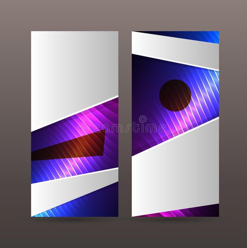 Ställ in purpurfärgat neon effect05 för vertikala banerbakgrundsblått vektor illustrationer