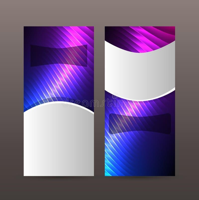 Ställ in purpurfärgat neon effect06 för vertikala banerbakgrundsblått stock illustrationer